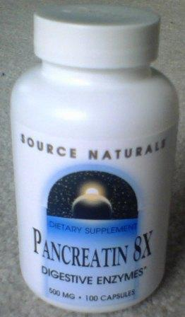 Typical good quality pancreatin enzyme supplement